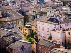 Cosy Italian city from above. The colorful oldschool apartment buildings of Lucca, Italy. View from the Guinigi Tower