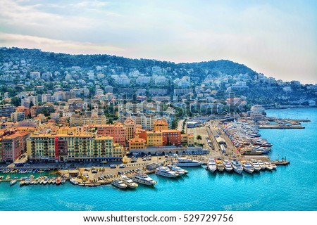 Cote d'Azur France. Beautiful panoramic aerial view city of Nice, France. Luxury resort of French riviera #529729756