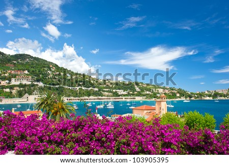 Cote d'Azur, french reviera, view of luxury resort and bay of Villefranche-sur-Mer near Nice and Monaco