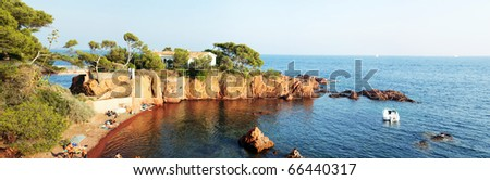 Cote d'Azur. Panorama. Beautiful bay house on the shore. Sunset