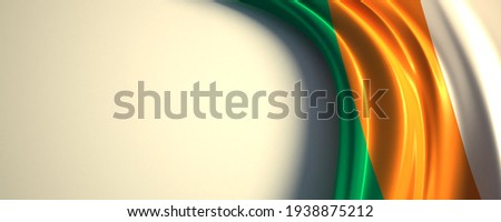 cote d'ivoire Flag. 3d illustration of the waving national flag with a copy space. Photo stock ©
