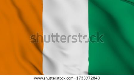 cote d ivoire flag is waving 3D animation. cote d ivoire flag waving in the wind. National flag of cote d'ivoire. 3d rendering Photo stock ©