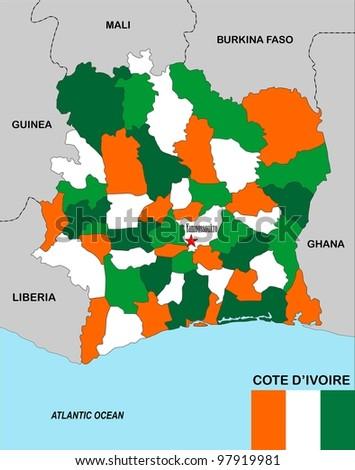 cote d'ivoire political map