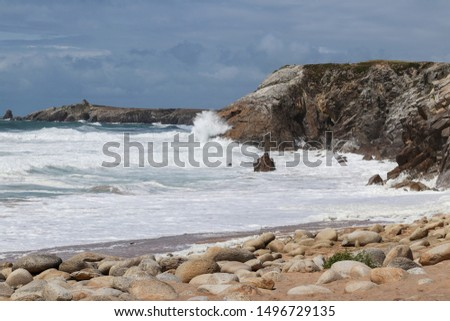 Cote Sauvage - Wild Coast - strong waves of Atlantic ocean on wild coast of the peninsula of Quiberon, Brittany, France #1496729135