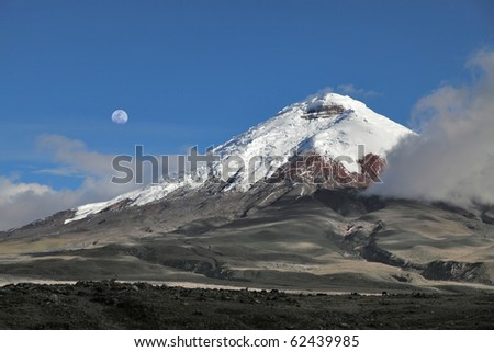 Cotopaxi volcano and moon