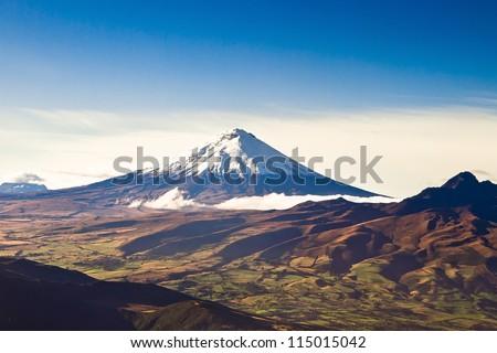 Cotopaxi volcano, Ecuador aerial shot