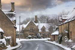 Cotswold village in snow, Weston Subedge, Chipping Campden, Gloucestershire, England