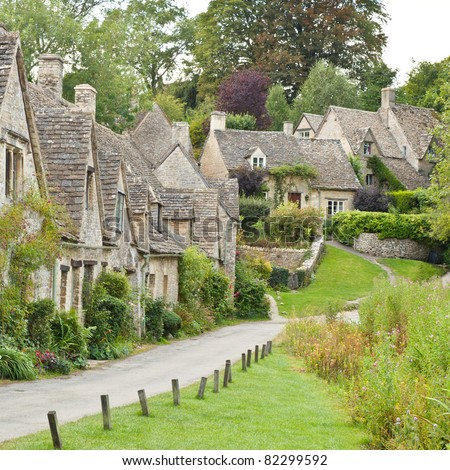 Cotswold village of Bibury and Arlington Row the prettiest row of houses in England