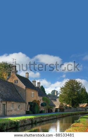 Cotswold village with copy-space