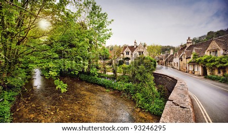 Cotswolds, Panoramic view of Castle Combe entrance in rural Wiltshire , England.