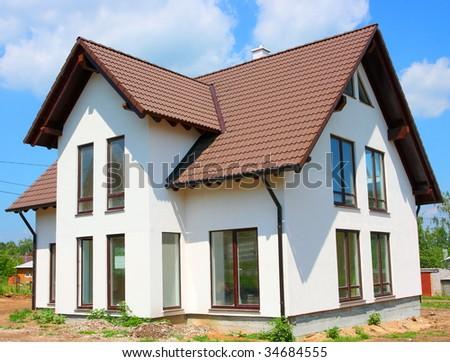 Cottage against a blue sky