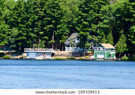 Cottage and two boathouses