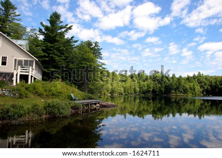 Cottage by a peaceful lake