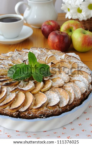 Cottage cheese and apple pie with apples and cinnamon