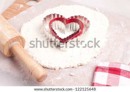 Cottage cheese dough cookies making for valentines