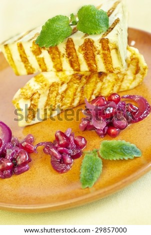 Cottage cheese-grill with salad from pomegranate, onions and currant jam
