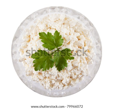 cottage cheese in a crystal plate