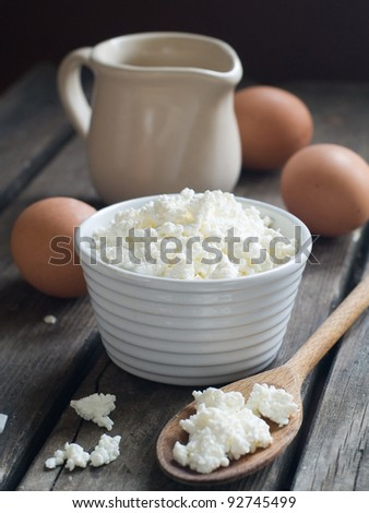 Cottage cheese in bowl. Healthy food, selective focus