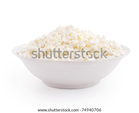 Cottage cheese in plate isolated on white background
