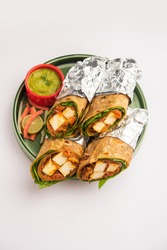 Cottage Cheese Paneer kathi roll or wrap also known as kolkata style spring rolls, vegetarians Indian food