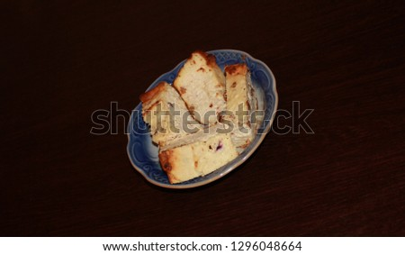 Cottage cheese pudding with raisins on a plate #1296048664