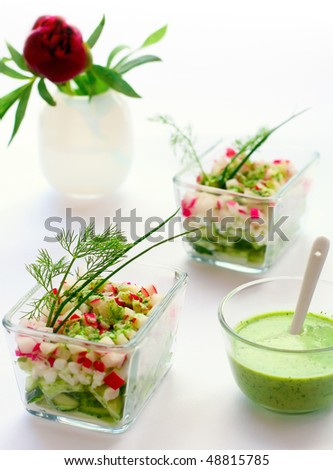 Cottage cheese,radish,cucumber salad and dressing