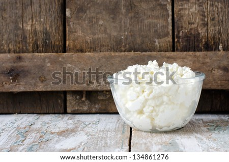 Cottage cheese.Selective focus