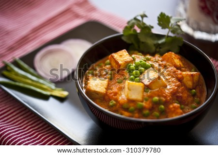 Shutterstock Cottage cheese with Peas in Indian Gravy