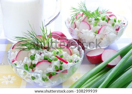 Cottage cheese with radish,chives and dill