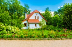 Cottage house in Europe village garden