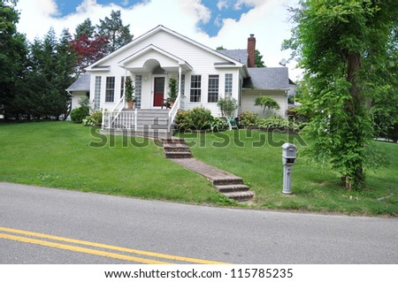 Cottage House suburban neighborhood mailbox street