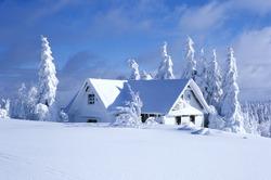 cottage in winter, Orlicke hory, Czech Republic