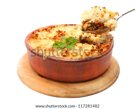Cottage Pie isolated on white