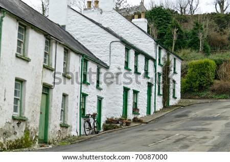 Cottage row, Glenoe village, county Antrim, Ireland
