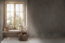 cottage vintage decoration with cement wall for retro style background with flower on window shelf