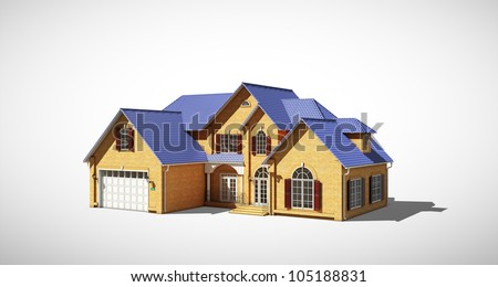 cottage with a blue roof on a gray background
