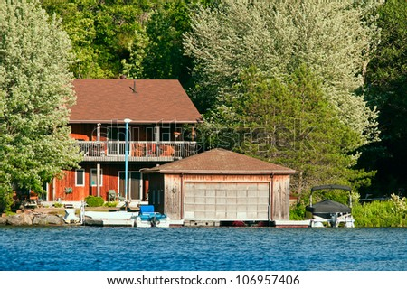Cottage with a boathouse