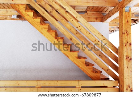 Cottage wood stair outside, horizontal photo.