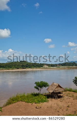 Cottages along the Mekong River take from Chiang Khong.Thailand