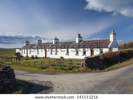 Cottages on the island of Shapinsay, Orkney, Scotland