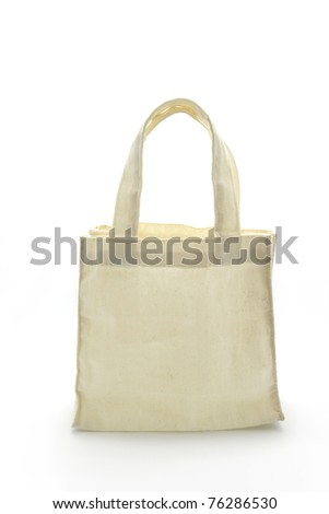 Cotton bag on white isolated background.