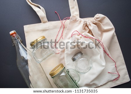 cotton bags and glass gar for free plastic shopping #1131735035