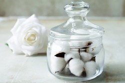 Cotton bolls in the glass jar with rose on the background