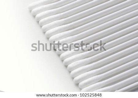 Cotton buds on white background