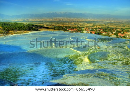 Cotton castle with pools of water from hot springs, Pamukkale, Turkey
