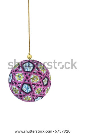 Cotton christmas bauble on white