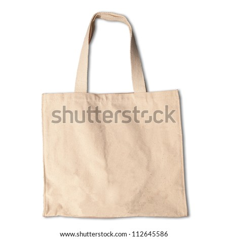 cotton clothes bag on white background with shadow