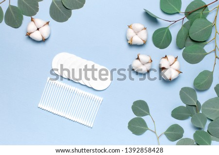 Cotton Cosmetic Makeup Removers Tampons. Spa concept. Flat lay background with cotton flowers, cotton pads, eared sticks, fresh eucalyptus twigs. Hygienic sanitary swabs on blue background Top view