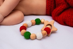 Cotton crochet beads and wood teething ring toy for baby Christmas