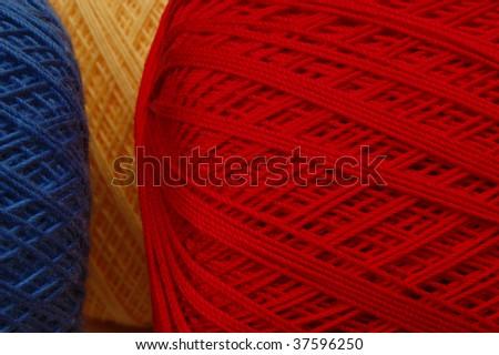 Cotton crochet thread in primary colors